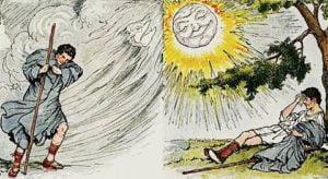 सूर्य और हवा की शिक्षाप्रद कहानी - अपनी ताकत और योग्यता पर कभी घमंड न करो
