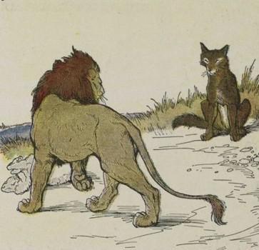 चापलूस भेड़िया और सिंह