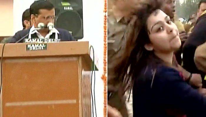 aam aadmi sena member bhavna throws ink on arvind kejriwal
