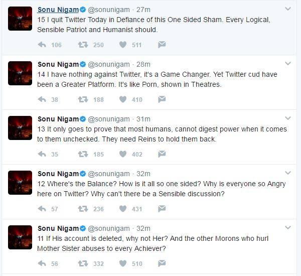 सोनू निगम ने ट्वीटर छोड़ने के कारन भी बताये